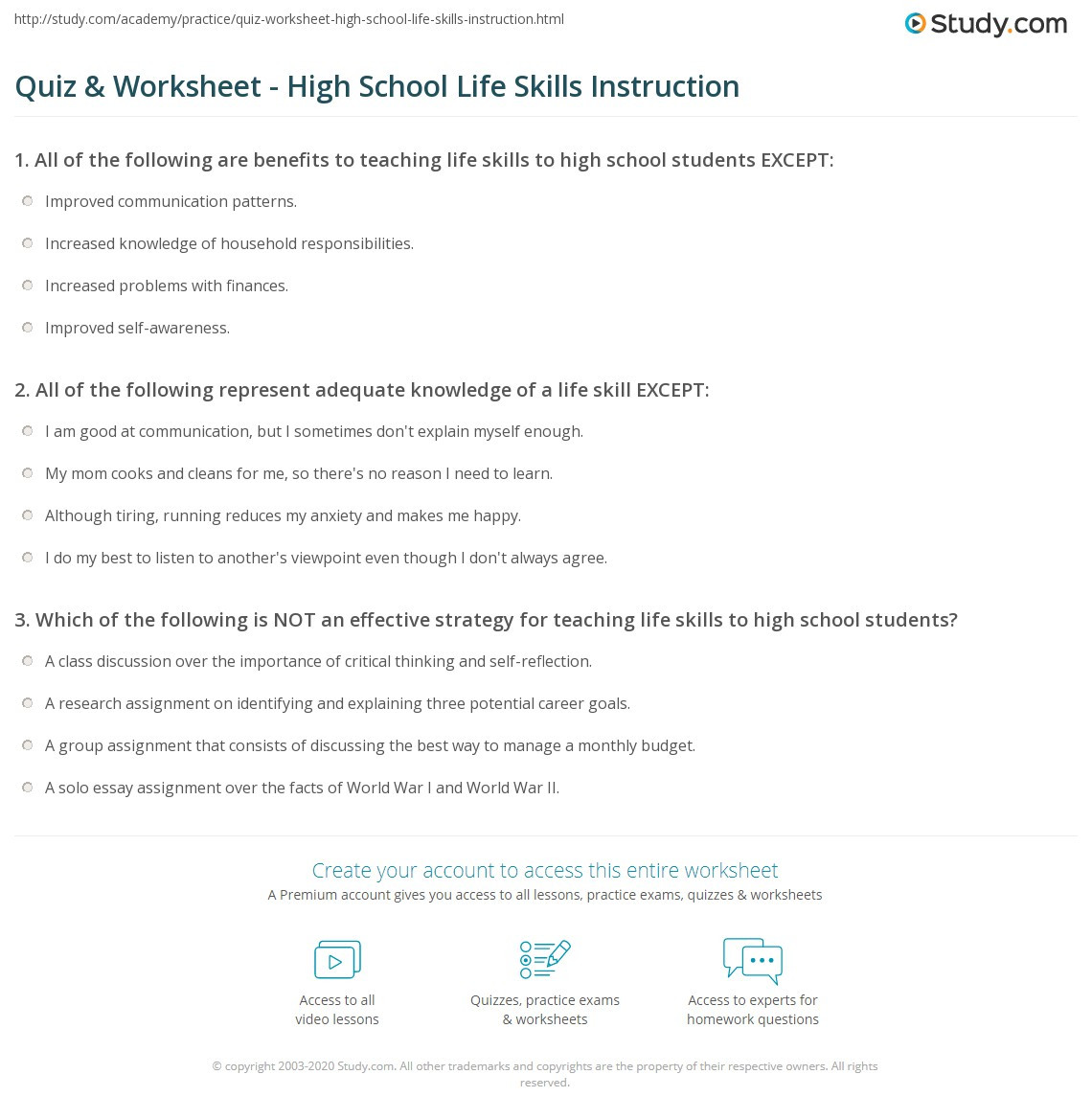 Life Skills Vocabulary Worksheets Quiz & Worksheet High School Life Skills Instruction