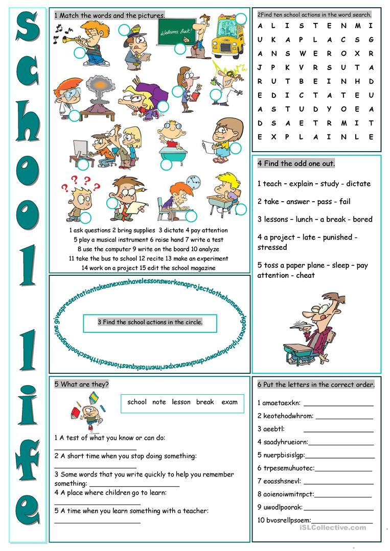 Life Skills Vocabulary Worksheets School Life Vocabulary Exercises English Esl Worksheets