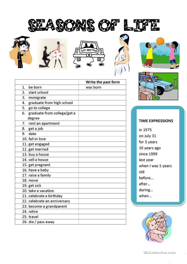 Life Skills Vocabulary Worksheets Seasons Of Life Vocabulary English Esl Worksheets for