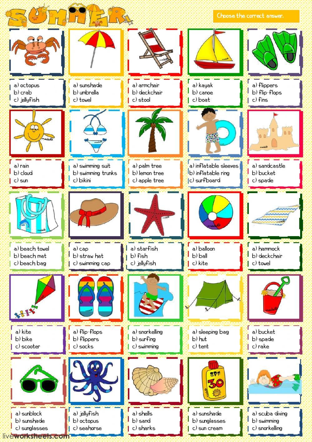 Life Skills Vocabulary Worksheets Summer Vocabulary Interactive and Able Worksheet