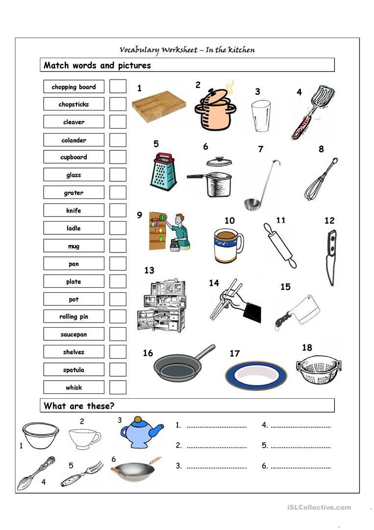 Vocabulary Matching Worksheet In the kitchen
