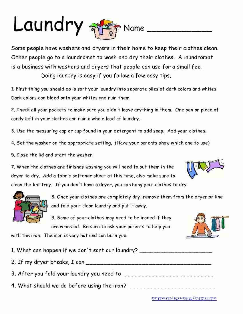 Life Skills Worksheets for Adults Laundry