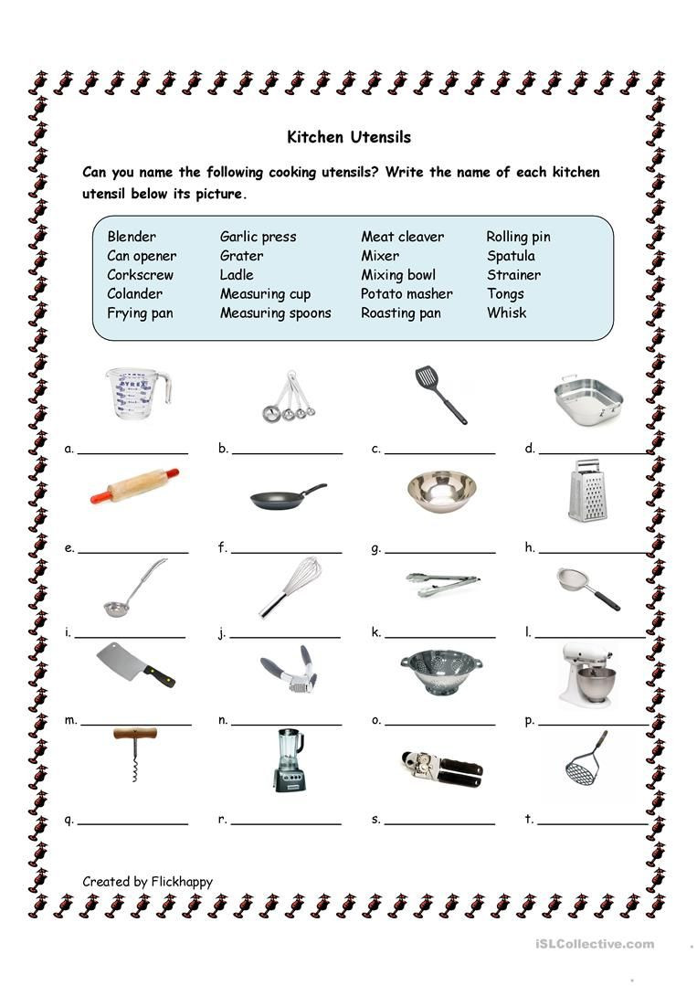 Life Skills Worksheets Kids Kitchen Utensils Worksheet Free Esl Printable Worksheets