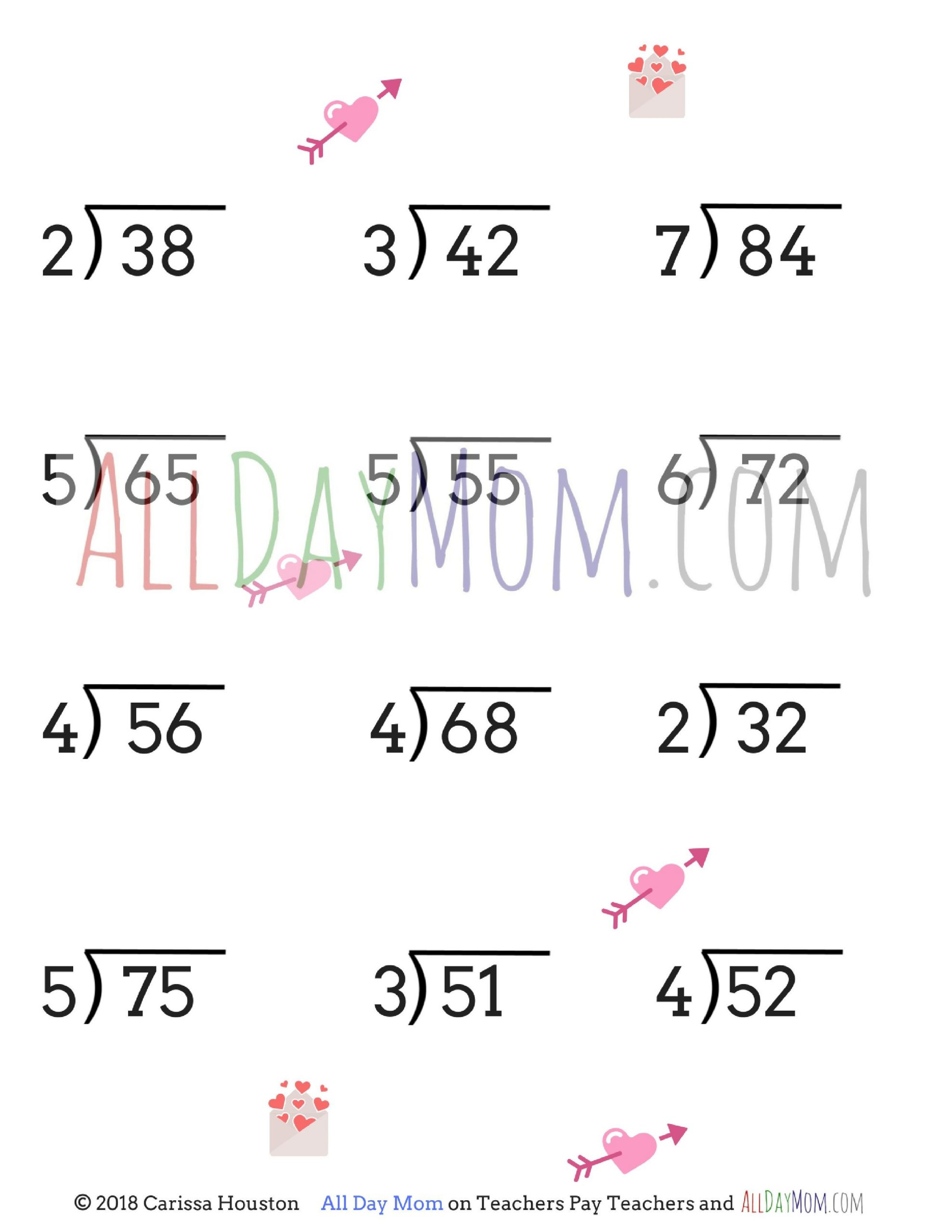 Long Division Worksheets 5th Grade Free Printable Valentine S Day Math Worksheets