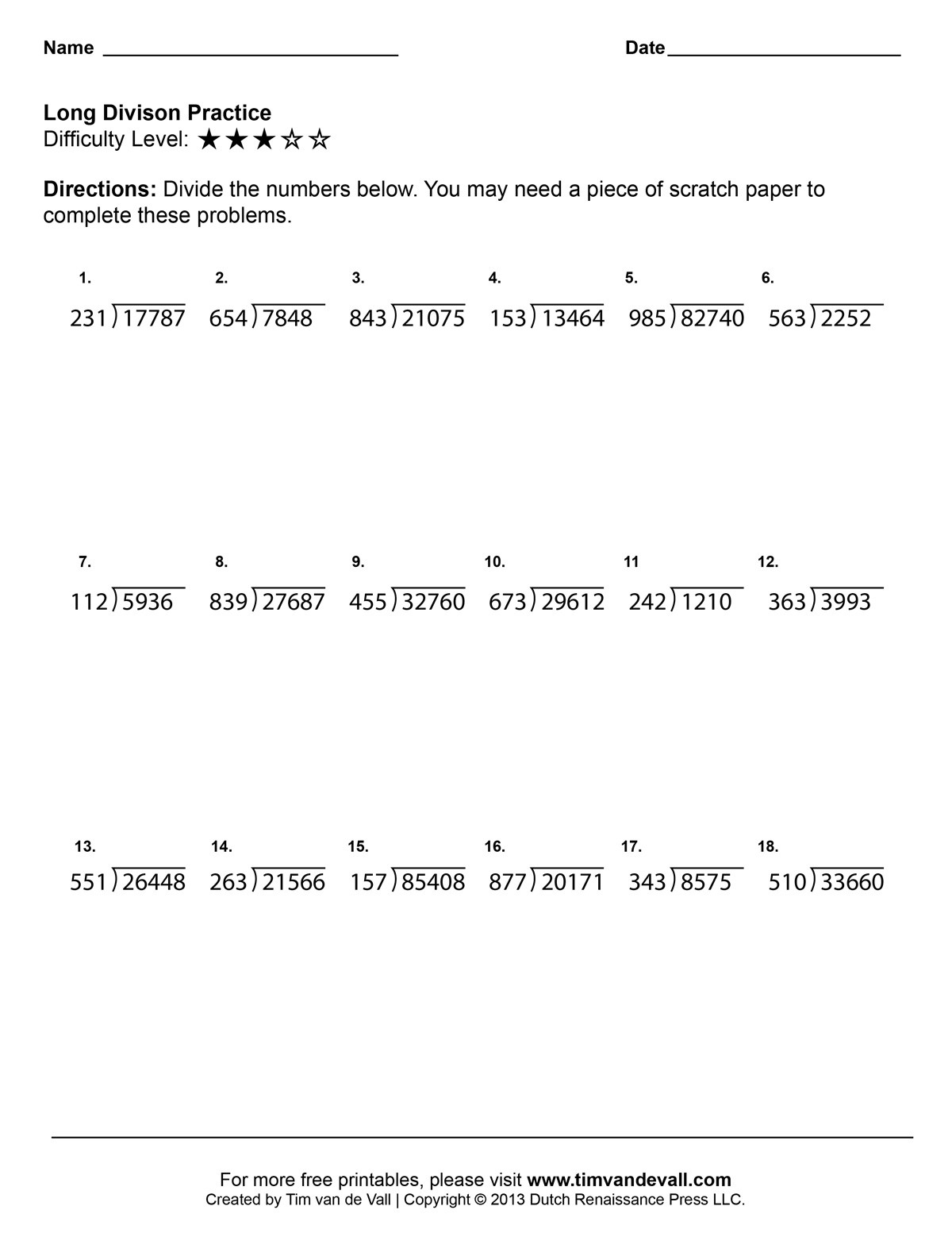 Long Division Worksheets 5th Grade Long Division Worksheets 03 Tim S Printables