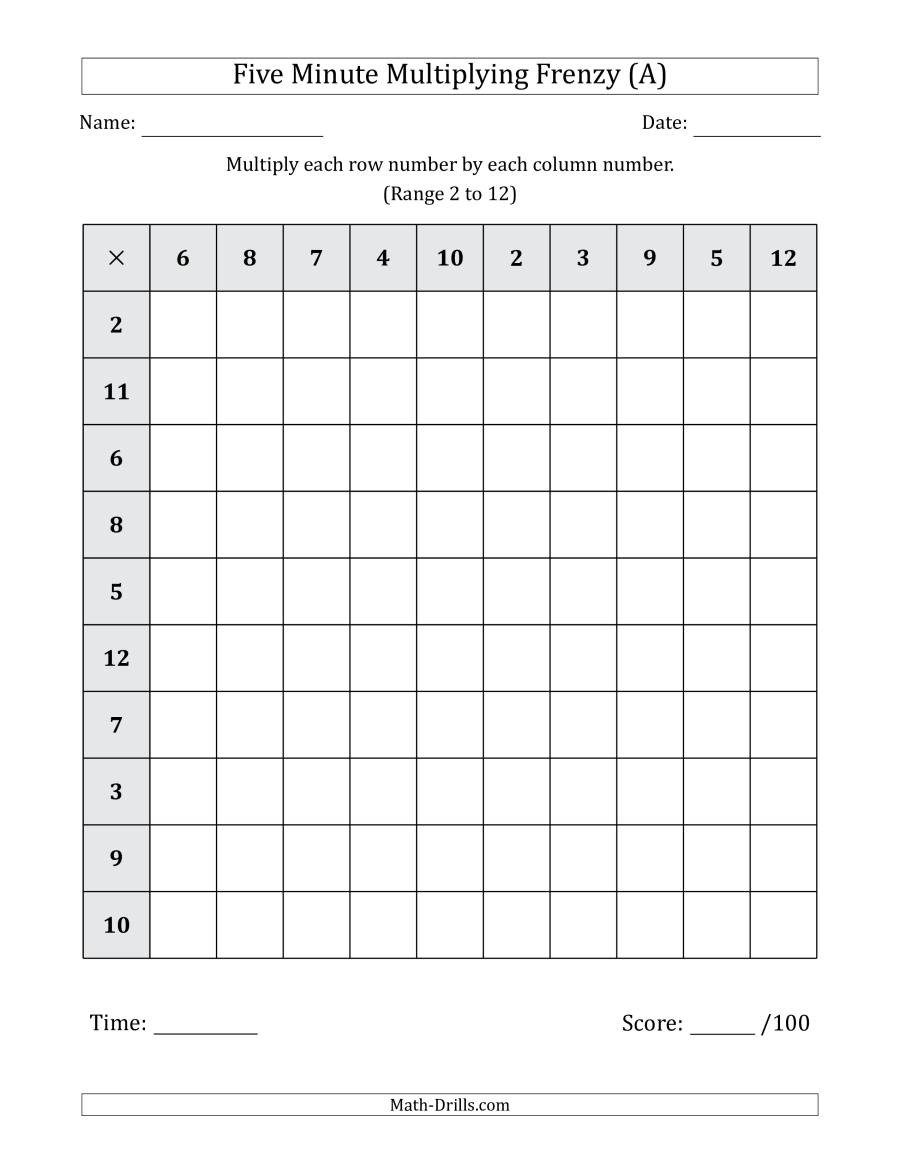 Mad Minute Math Worksheets Five Minute Multiplying Frenzy Factor Range 2 to 12 A