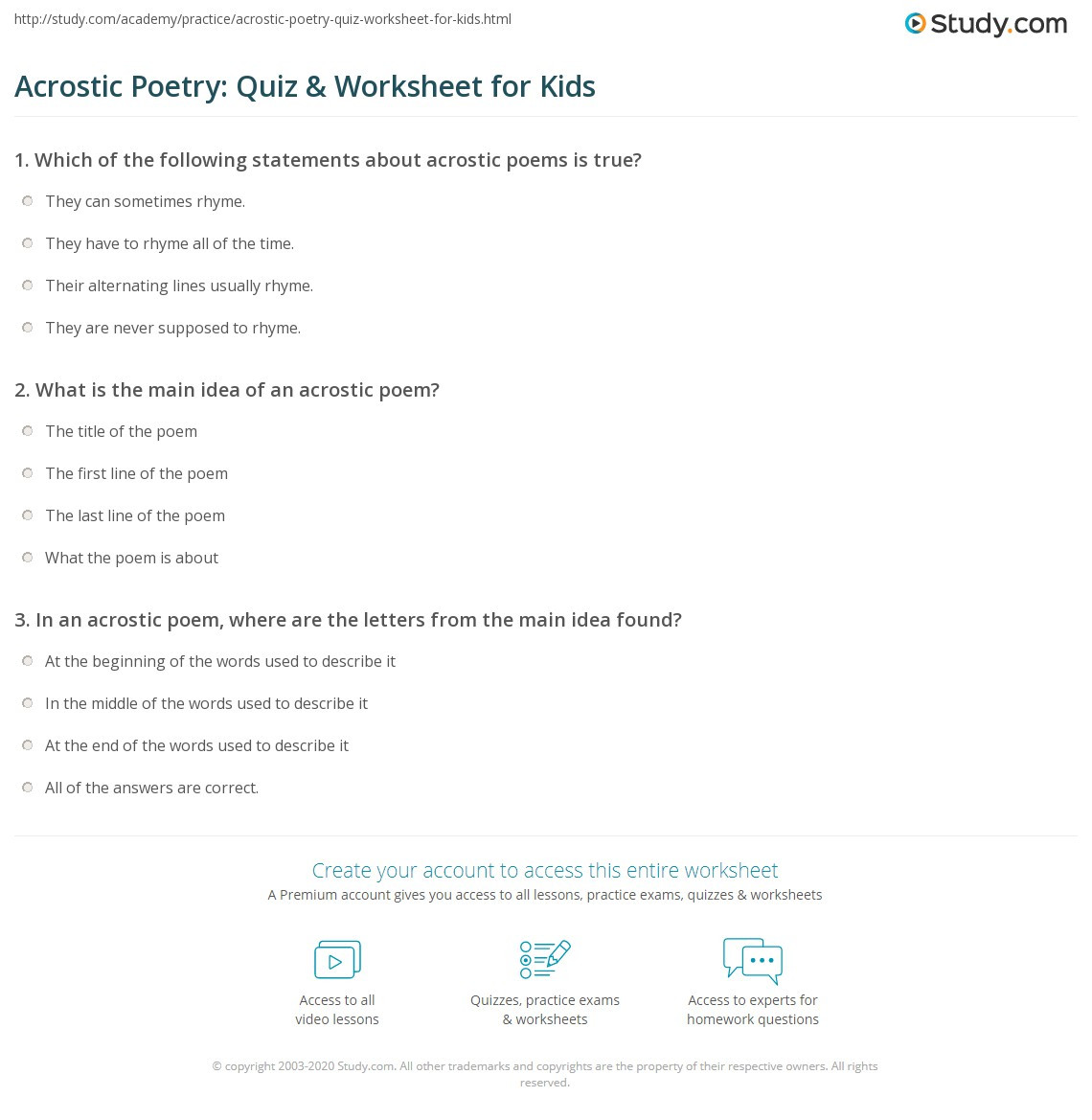 Main Idea Worksheets High School Acrostic Poetry Quiz & Worksheet for Kids