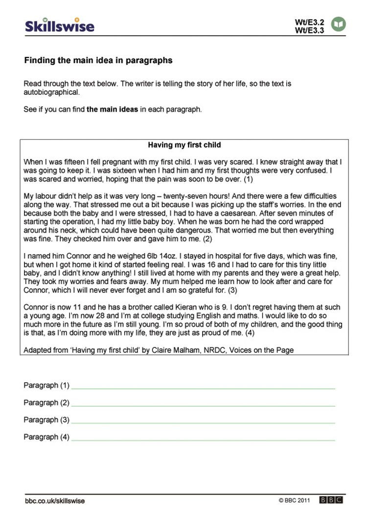Main Idea Worksheets High School Finding the Main Idea In Paragraphs