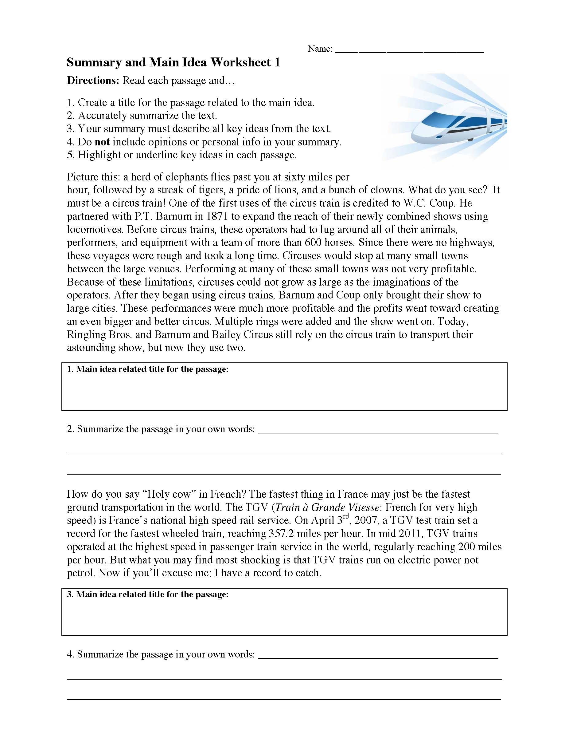 Main Idea Worksheets Middle School Summarizing Worksheets Learn to Summarize