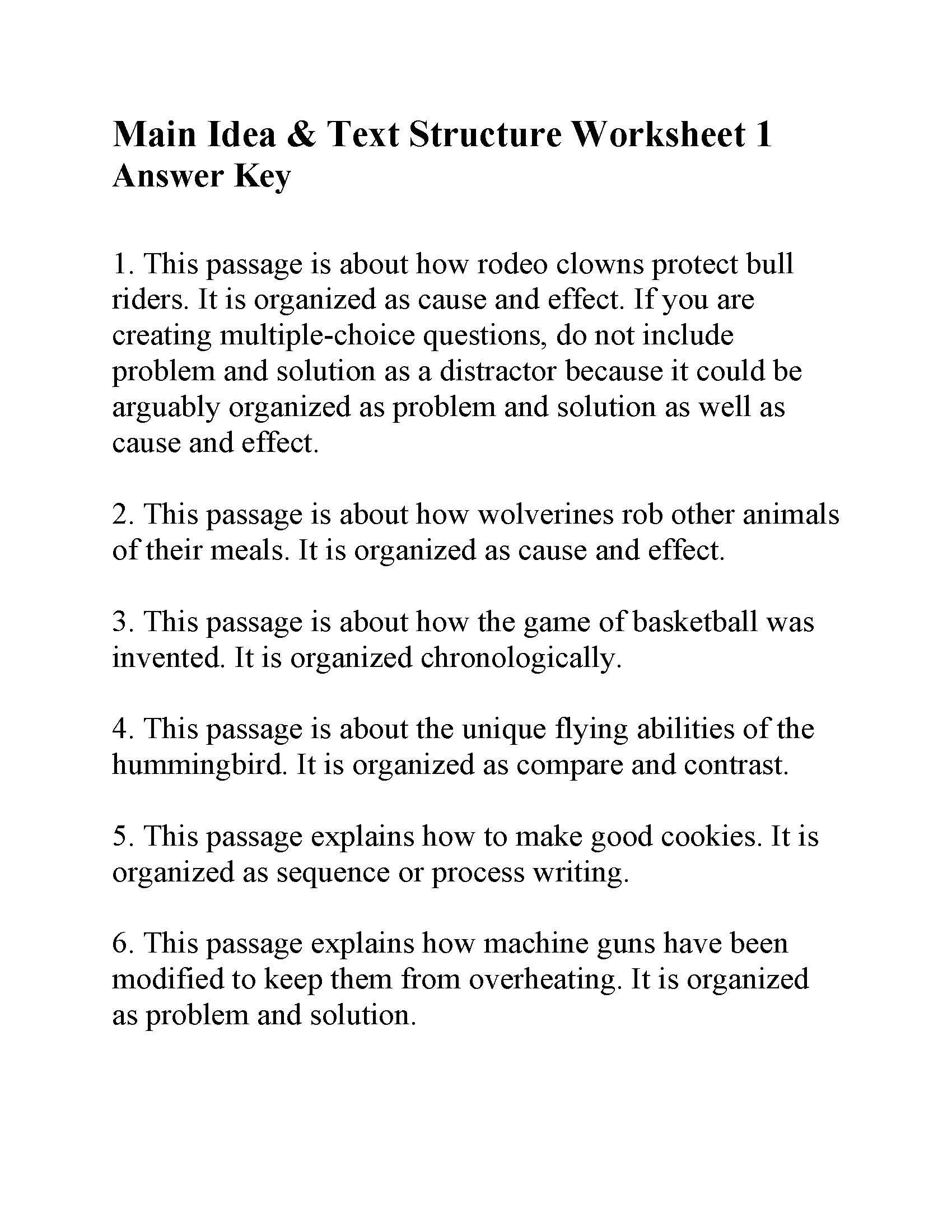 Main Idea Worksheets Middle School This is the Answer Key for the Main Idea and Text Structure