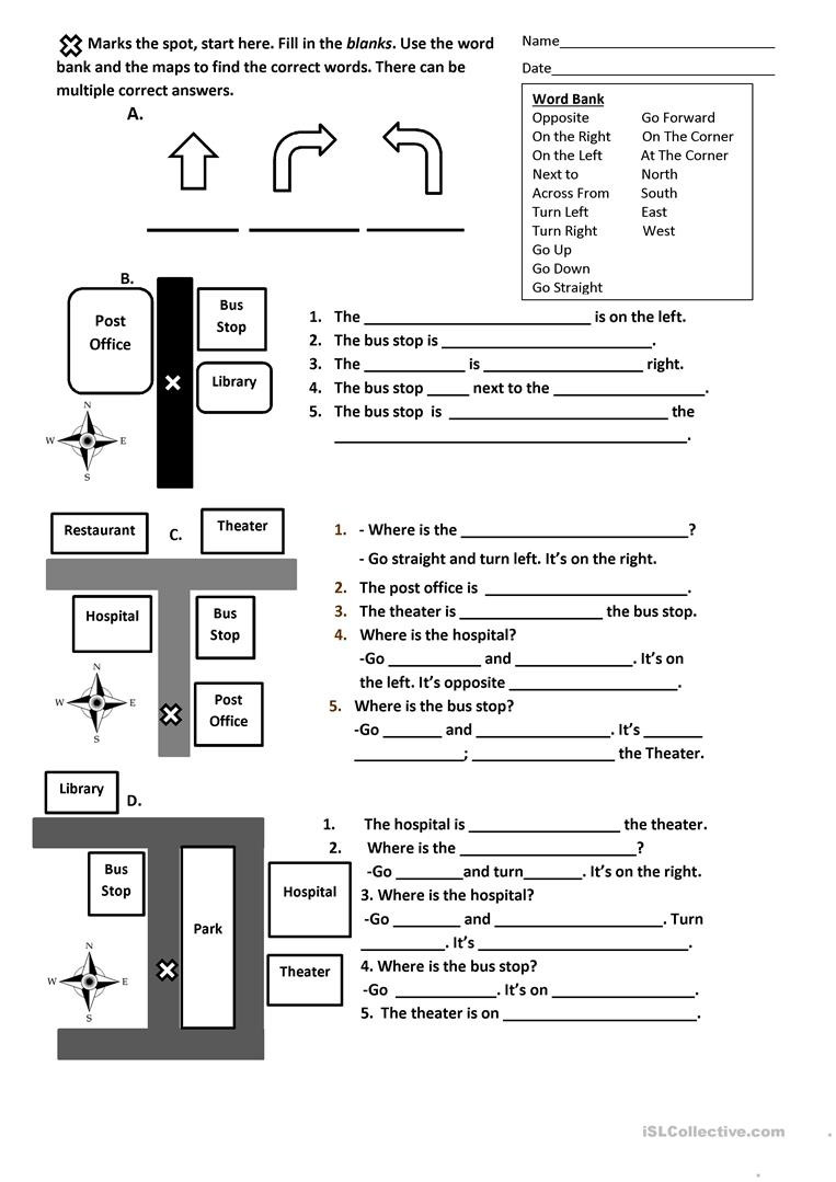 Map Reading Practice Worksheets Directions Prepositions and Maps Worksheet English Esl