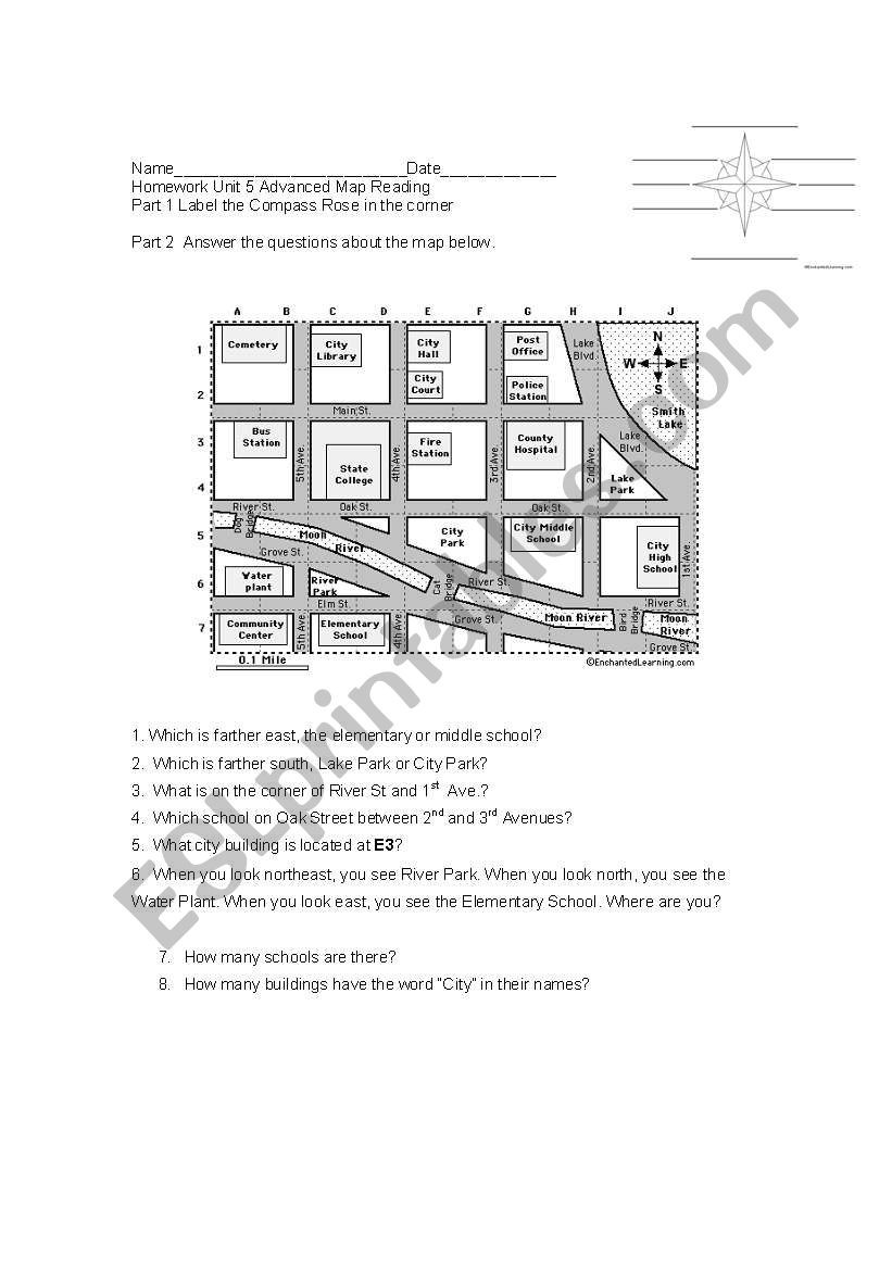 Map Reading Practice Worksheets Practice Reading Maps Places In the Neighborhood Homework