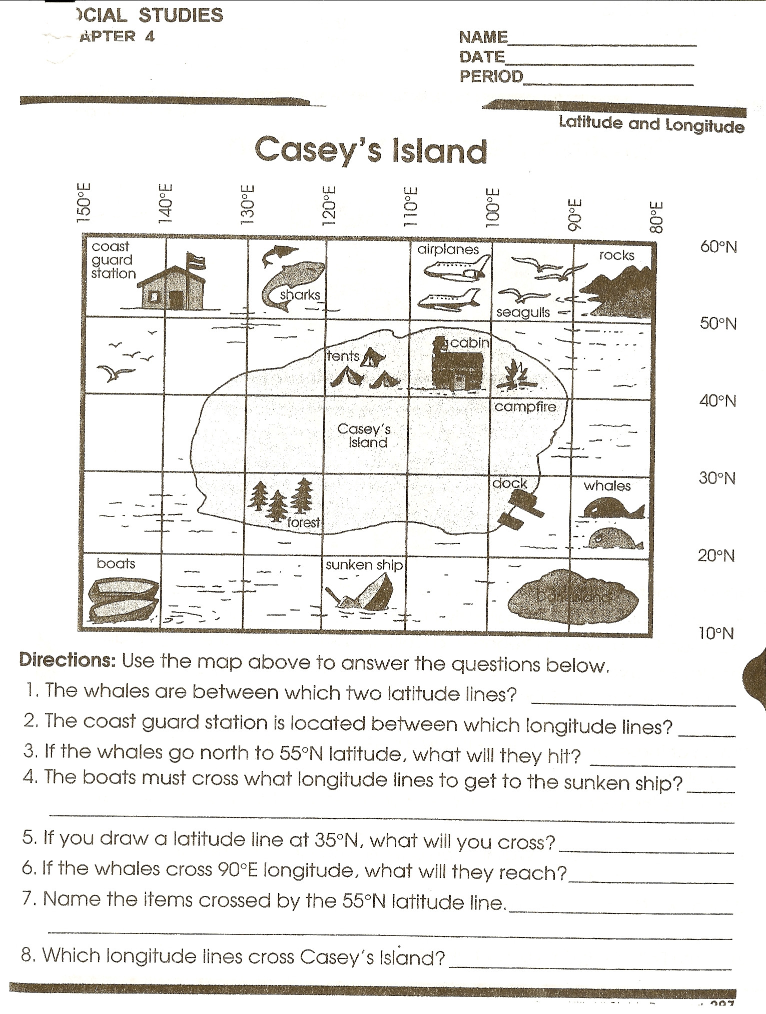Map Reading Practice Worksheets Reading A Map Worksheet