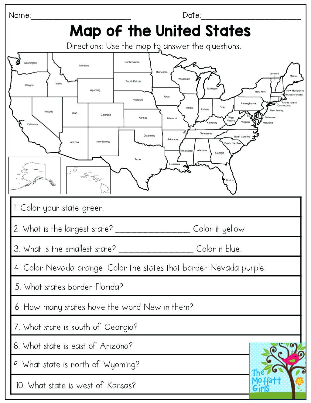 Map Skills Worksheet 2nd Grade Map Skills Worksheets to Printable Map Skills Worksheets
