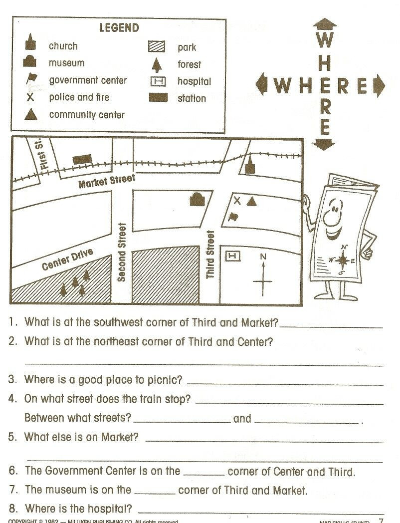 Map Skills Worksheet 4th Grade 2nd Grade Map Skills Worksheets