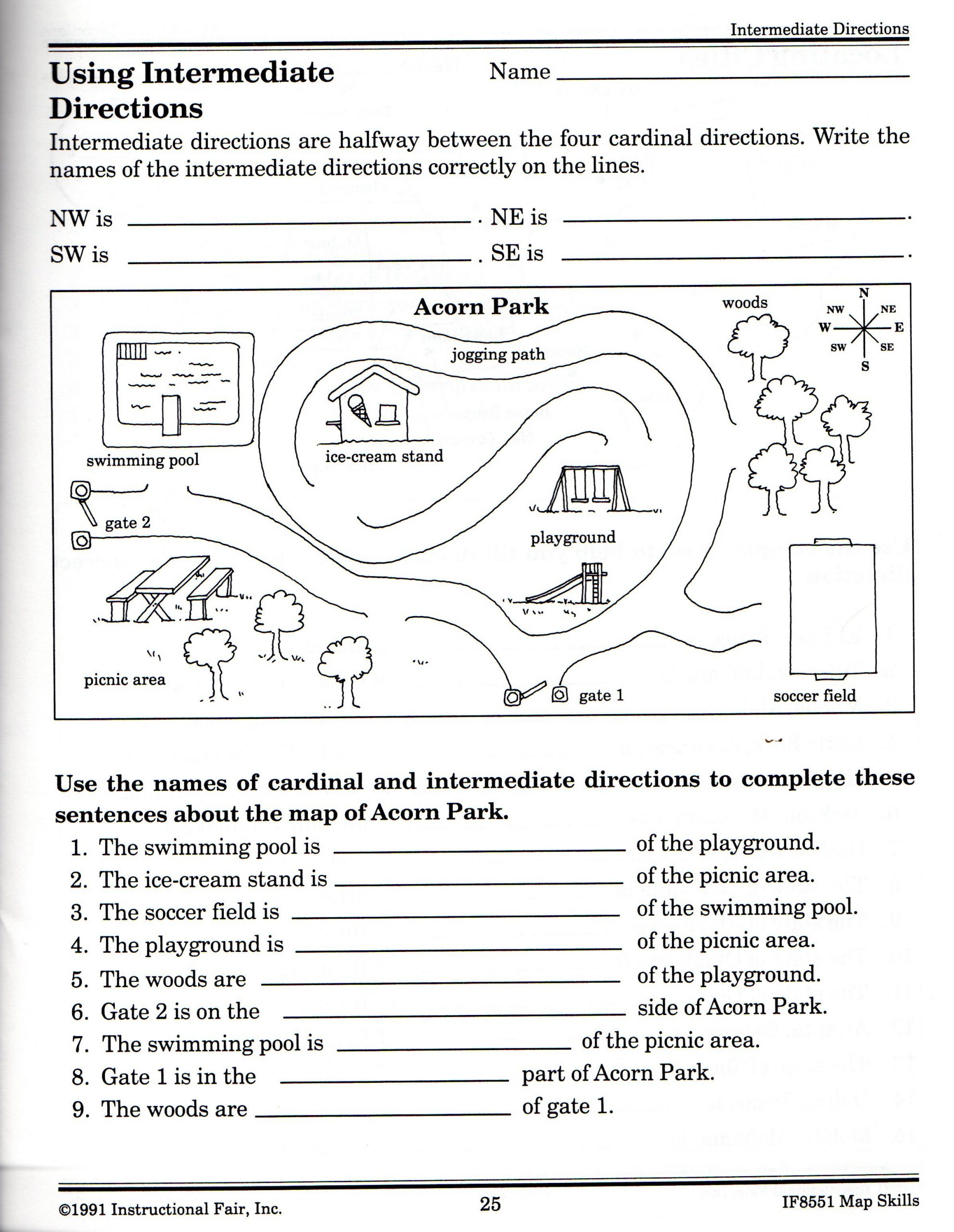 Map Skills Worksheets Middle School Intermediate Directions Worksheet