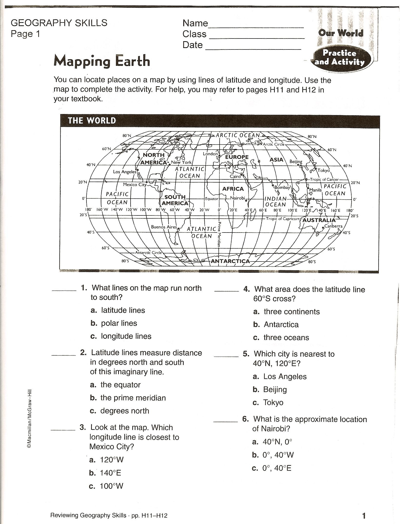 Map Skills Worksheets Middle School social Stu S Maps Worksheets
