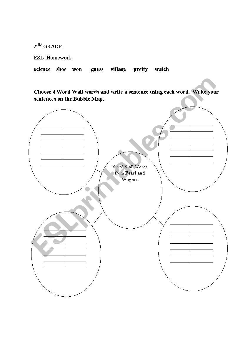 Map Worksheets for 2nd Grade 2nd Grade Esl Bubble Map for Writing Sentences Using Word