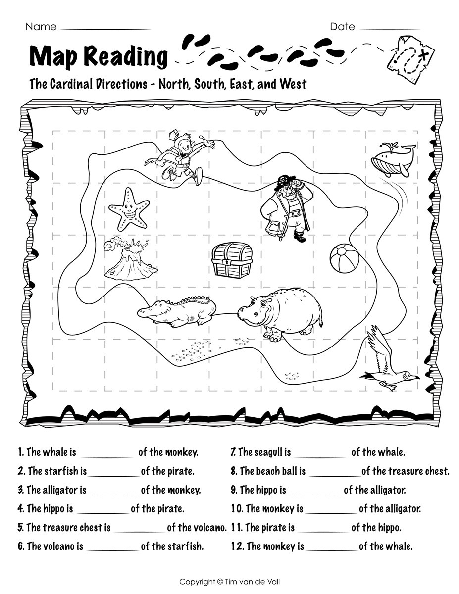 Map Worksheets for First Grade Map Reading Worksheet 02 Tim S Printables