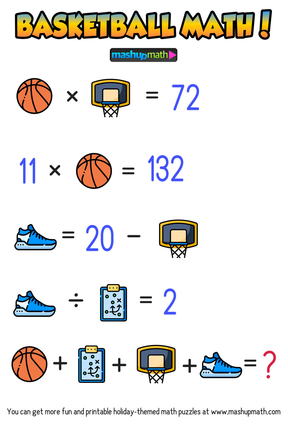 March Madness Math Worksheets are Your Kids Ready for these Basketball Math Puzzles