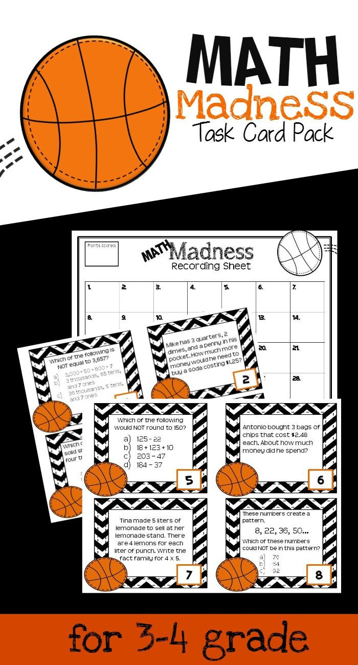 March Madness Math Worksheets Basketball Math Task Cards for Test Prep In Grades 3 4 28