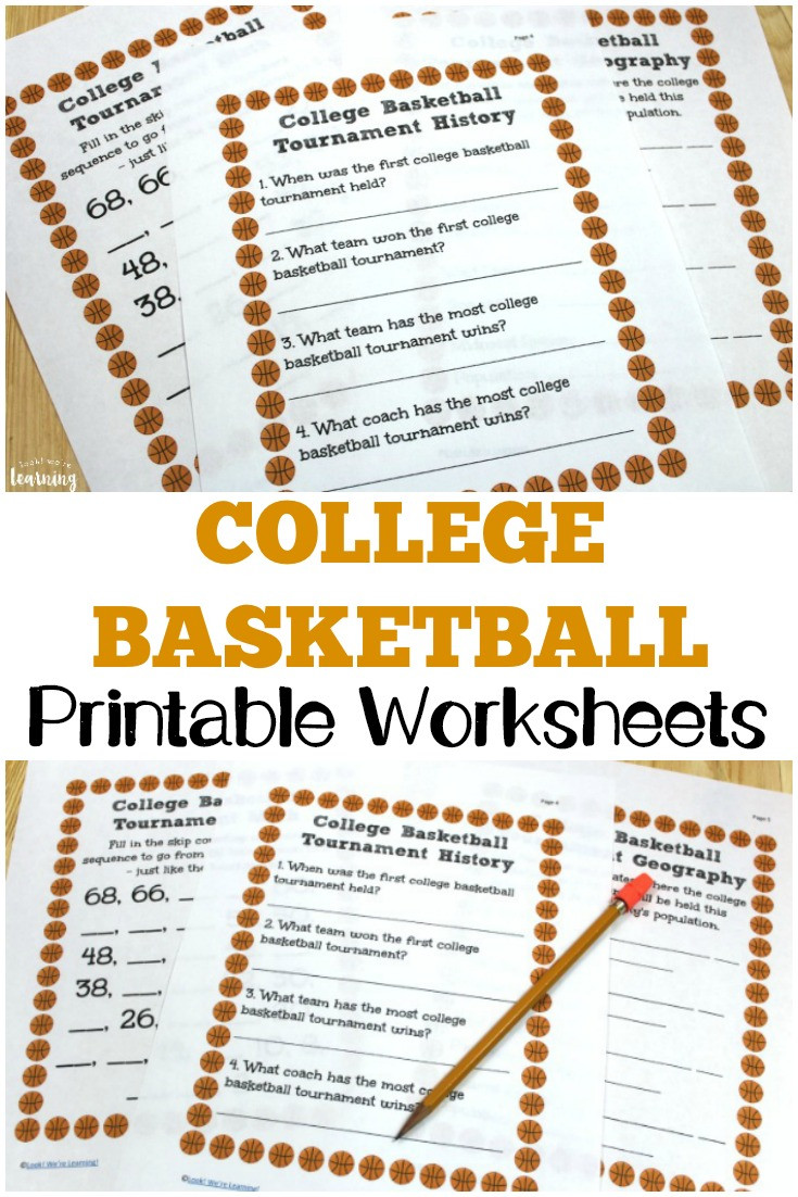 March Madness Math Worksheets College Basketball Worksheets for Kids Look We Re Learning