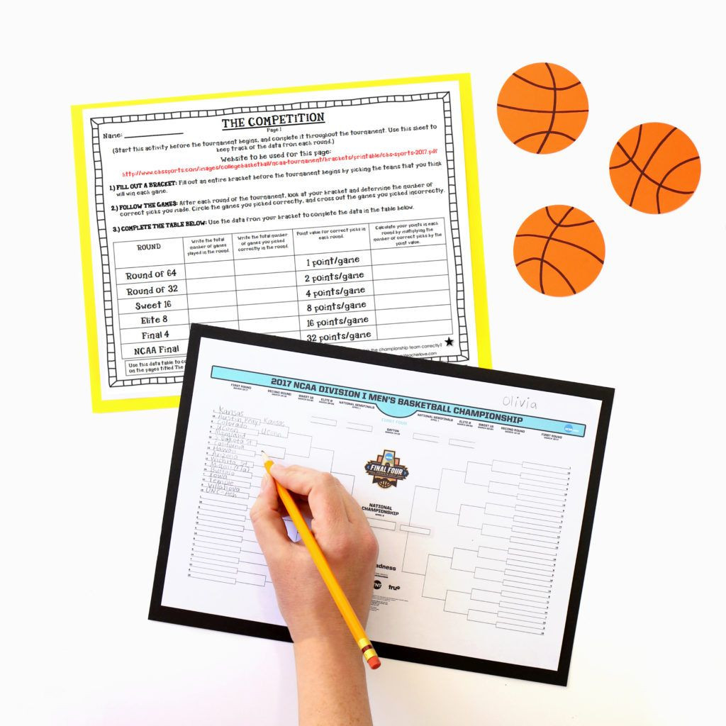 March Madness Math Worksheets March Madness Basketball tournament Math Project