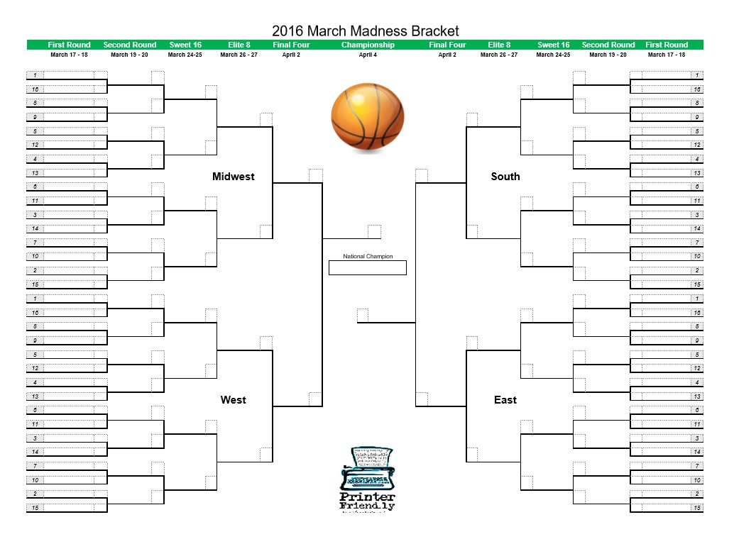 March Madness Math Worksheets March Madness Bracket 2016 Printerfriendly