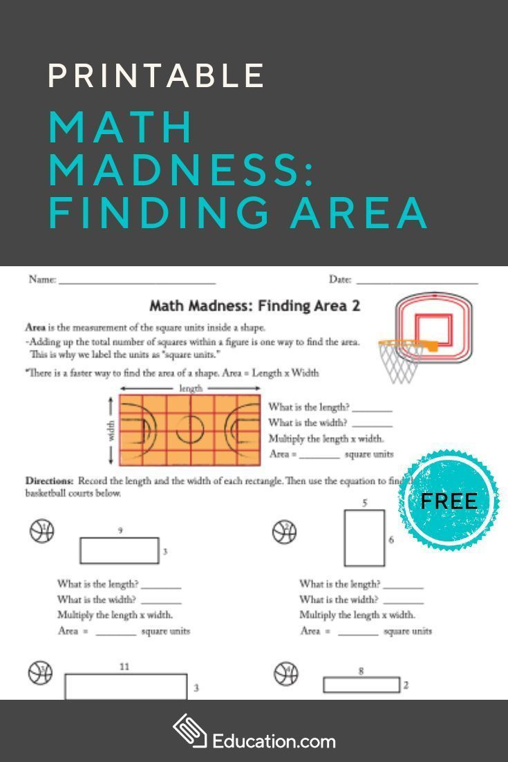 March Madness Math Worksheets Math Madness Finding area 2 Worksheet