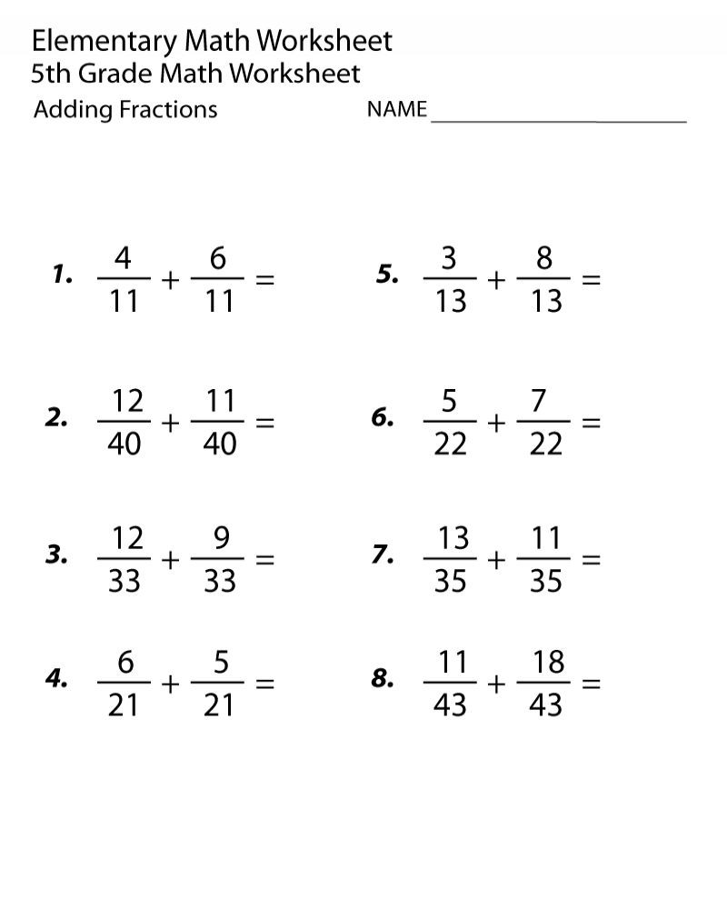 Math 5th Grade Worksheets 5th Grade Math Worksheets Fractions