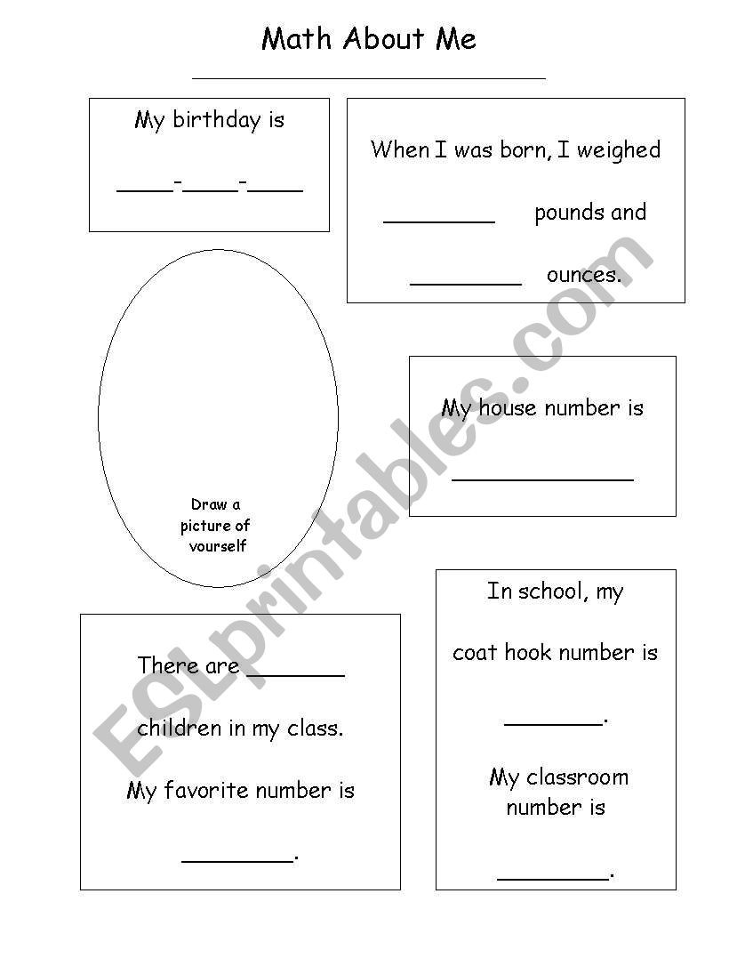 Math about me ESL worksheet by eileenclaire