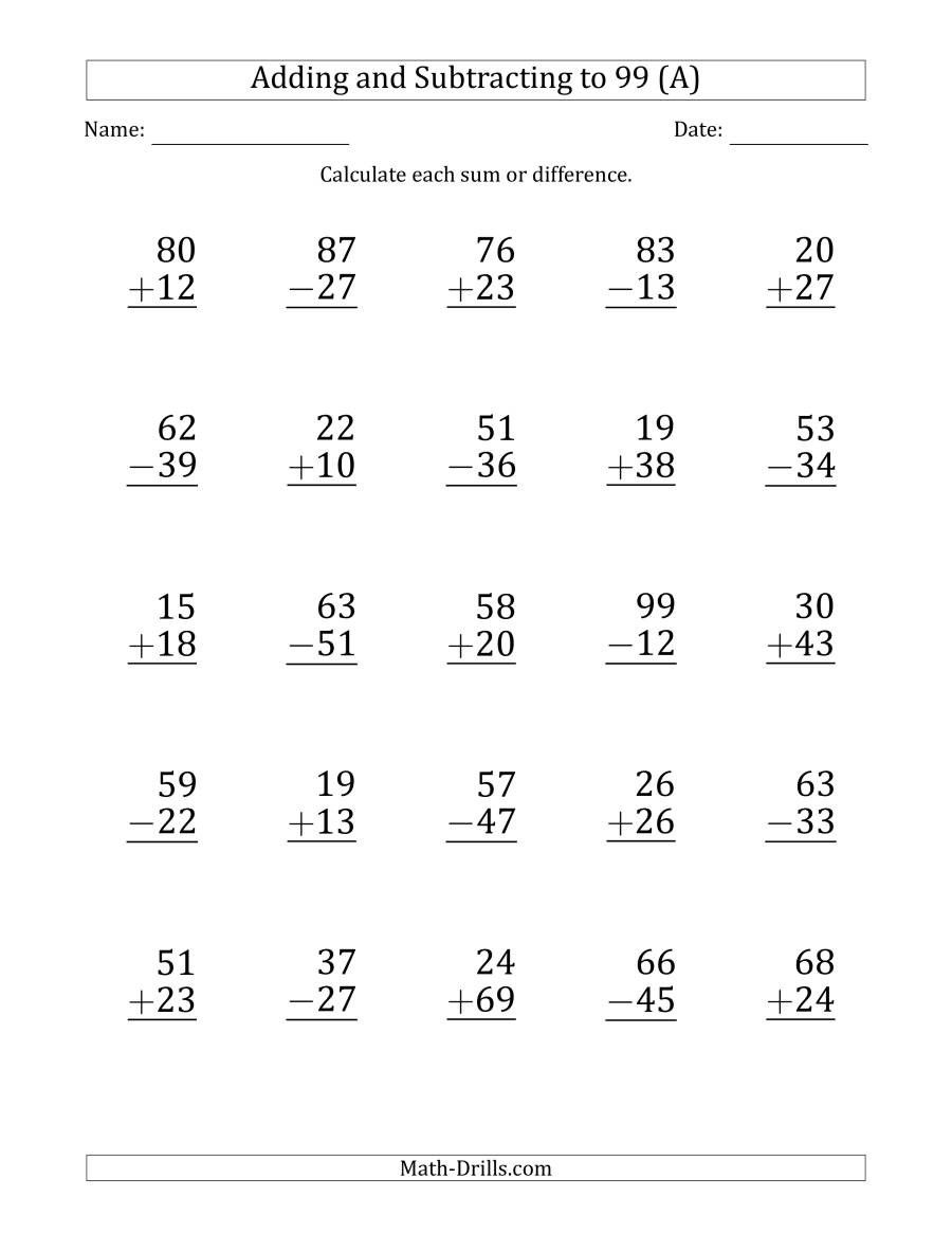 Math Addition and Subtraction Worksheets Print Adding and Subtracting 2 Digit Numbers with Sums