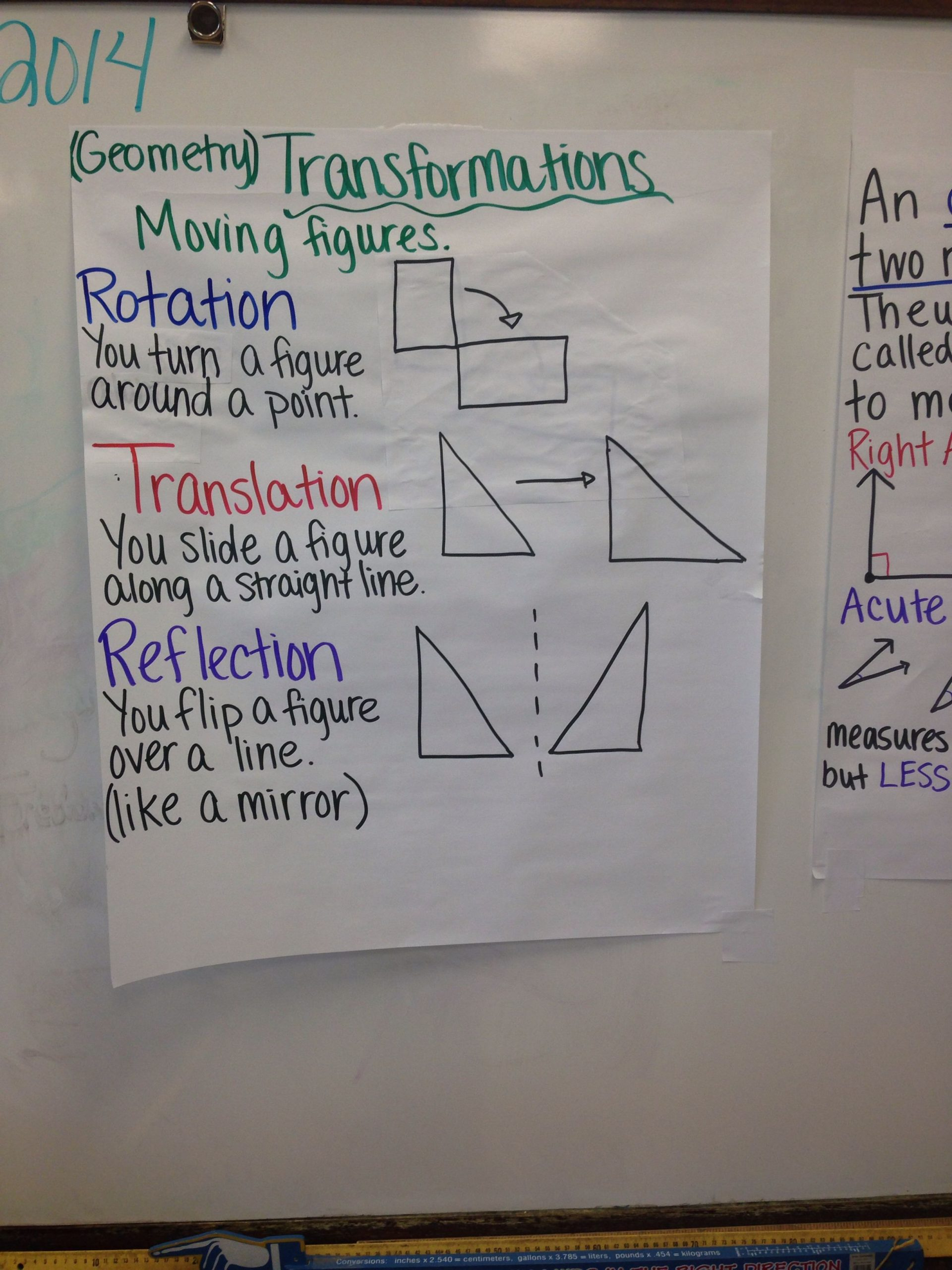 Math Aids Reflections Transformations Rotation Reflection Translation Of Figures