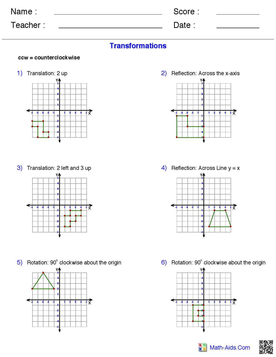 Math Aids Reflections Transformations Work Sheet From Math Aids by Morgan Aue