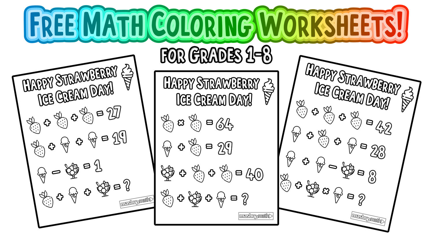 Math Coloring Worksheets 7th Grade Free Math Coloring Pages for Grades 1 8 — Mashup Math