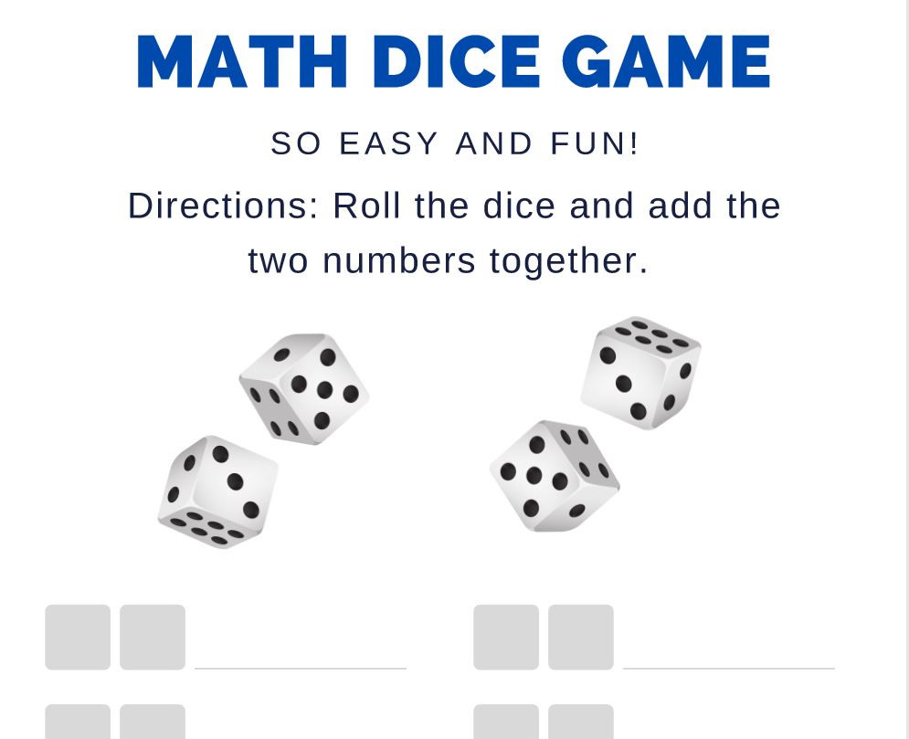 Math Dice Games Worksheets Kindergarten Math Activities Happy Moms Projects