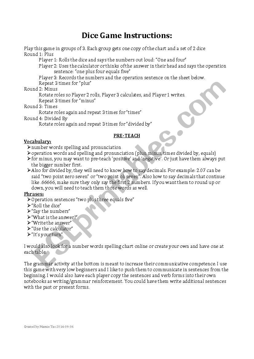 Math Dice Games Worksheets Math Operations Dice Game English for Math Esl Worksheet