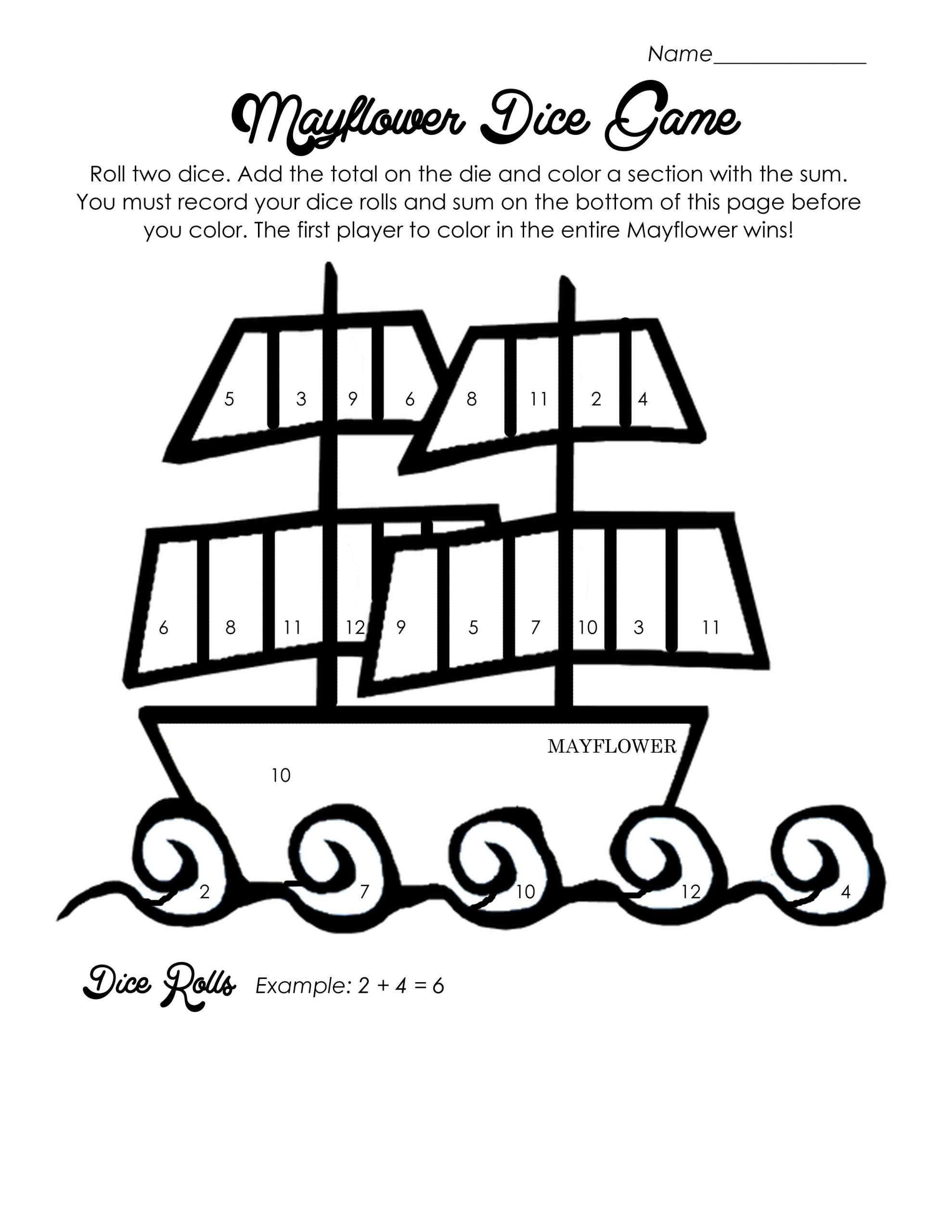 Math Dice Games Worksheets Mayflower Dice Game