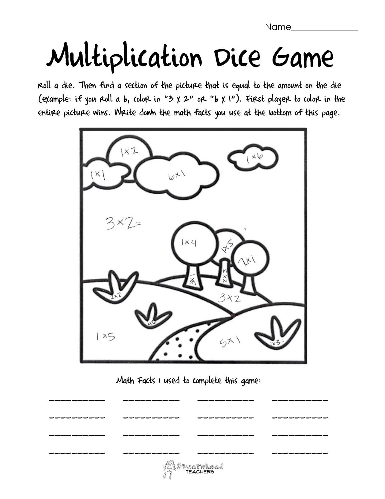 Math Dice Games Worksheets Multiplication Dice Game Landscape