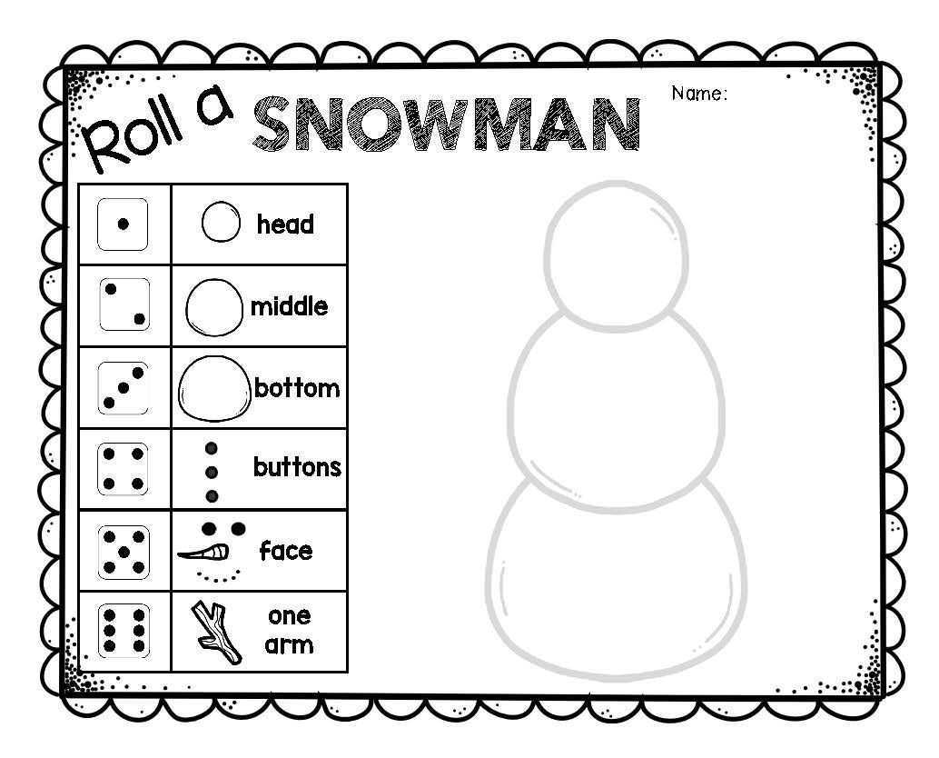 Math Dice Games Worksheets Roll A Snowman Dice Game