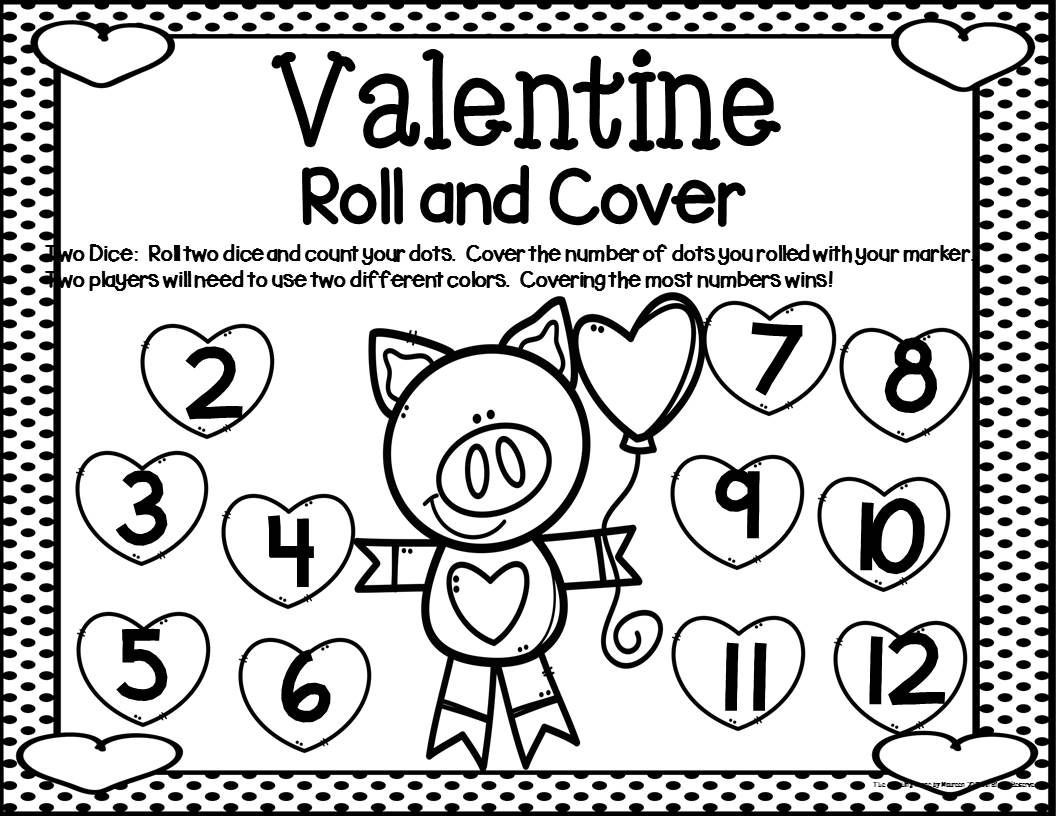 Math Dice Games Worksheets Valentine Math Center Dice Games