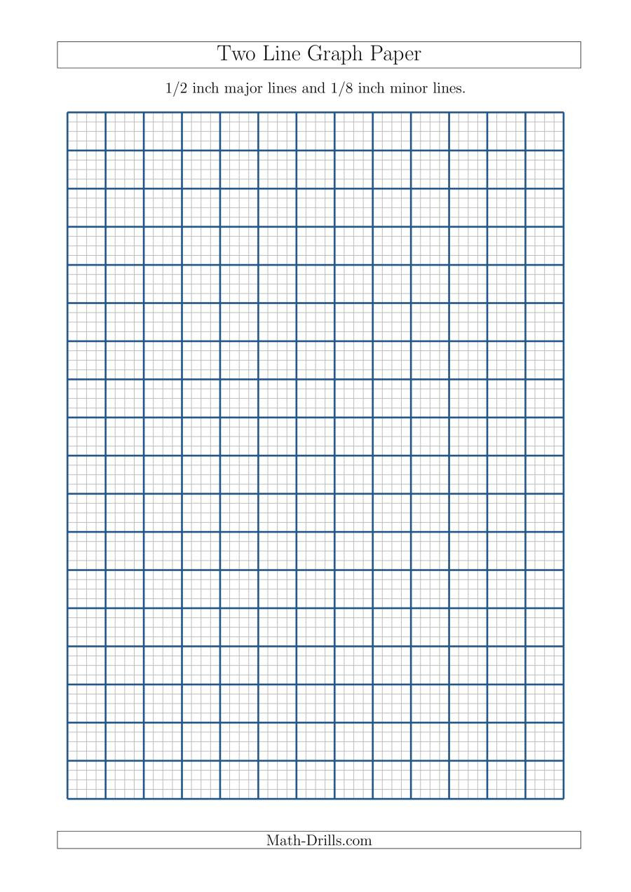 Math Drills Graph Paper Two Line Graph Paper with 1 2 Inch Major Lines and 1 8 Inch