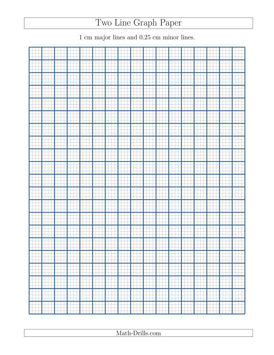 Math Drills Graph Paper Two Line Graph Paper with 1 Cm Major Lines and 0 25 Cm Minor