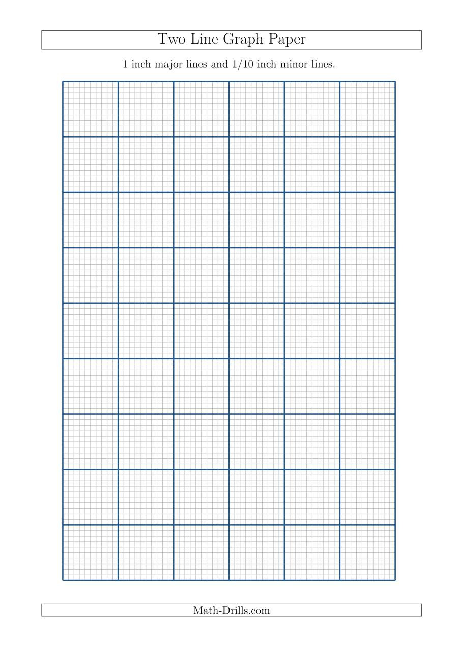 Math Drills Graph Paper Two Line Graph Paper with 1 Inch Major Lines and 1 10 Inch