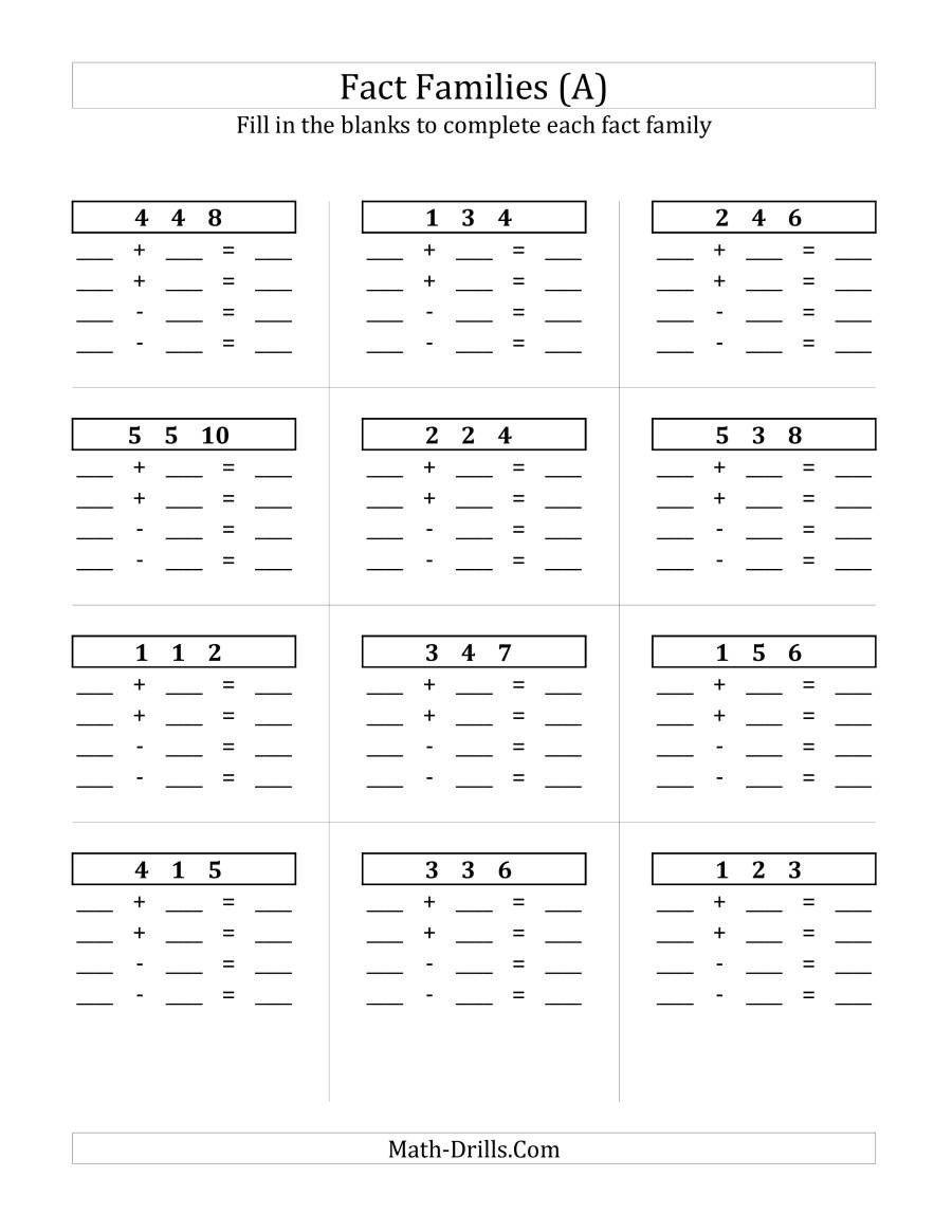 Math Fact Family Worksheets Addition and Subtraction Relationships with Sums to 10 and