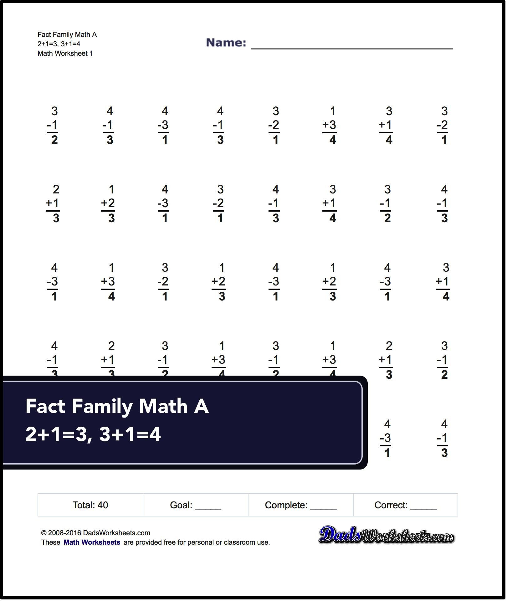 Math Fact Family Worksheets Fact Family Worksheets E Minute Addition Subtraction