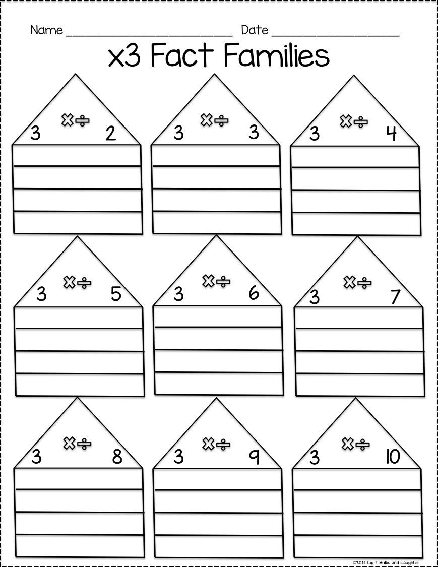 Math Fact Family Worksheets Multiplication and Division Fact Family Practice Pack