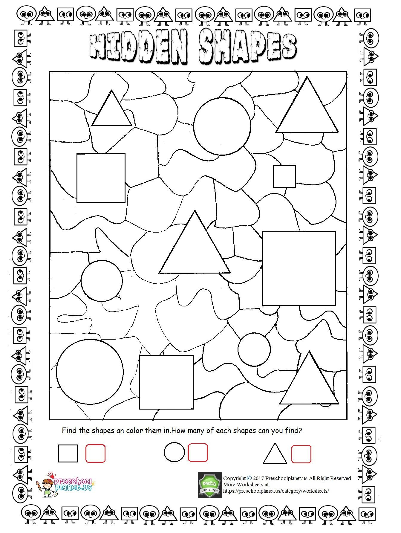 Math Hidden Picture Worksheets Hidden Shapes Worksheet Worksheets Pre Primary Work Word