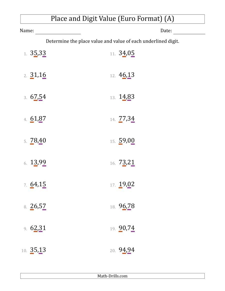 Math Place Value Worksheets Euro format Determining Place Value and Digit Value From