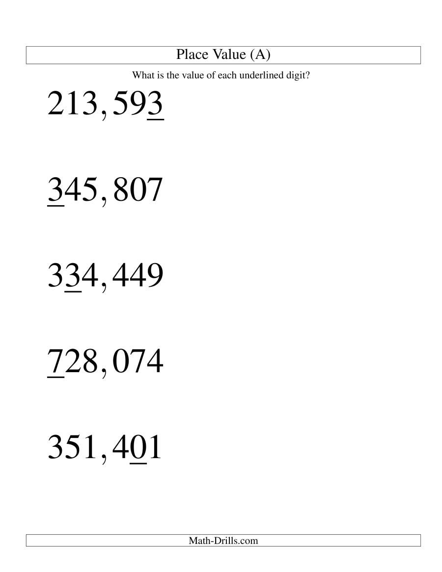 Math Place Value Worksheets Place Values Ones to Hundred Thousands U S format
